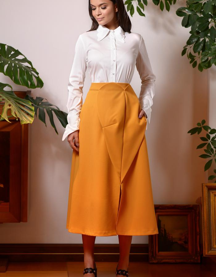 White Admiral Shirt (White Poplin Shirt with Butterfly Collar & Cuffs) & the Monarch Skirt (Midi Skirt with Front Panels)