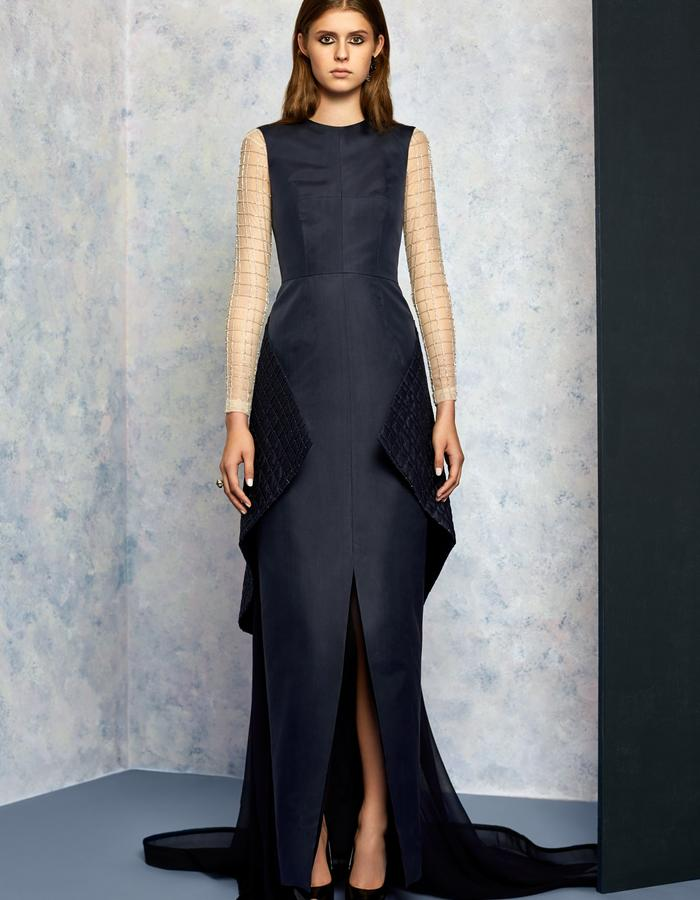 Navy Gown with Tail