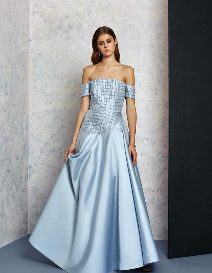 Asymmetrical offshoulder icy gown