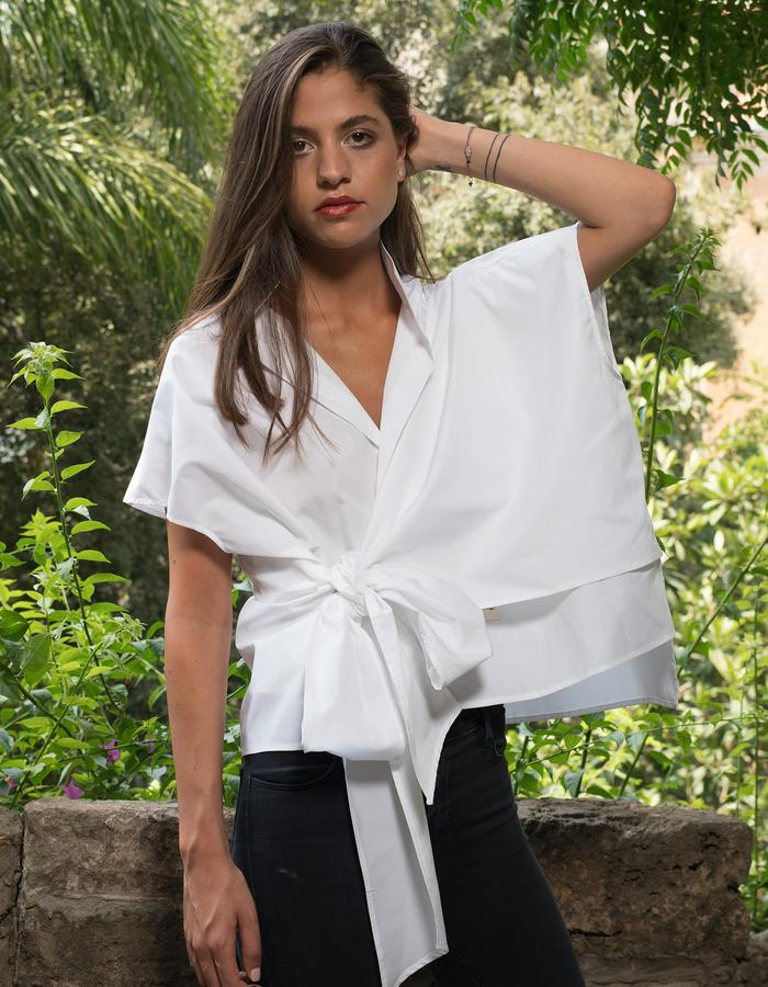 Cropped tie shirt- white