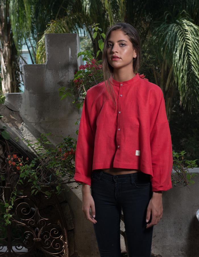 Simple loose shirt-red