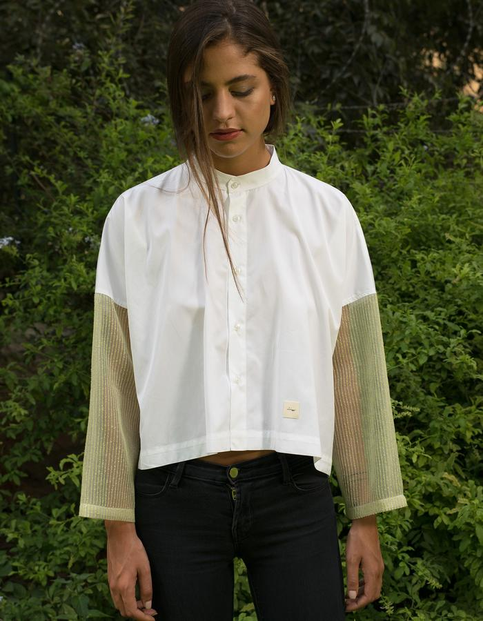 Simple loose shirt- white & green