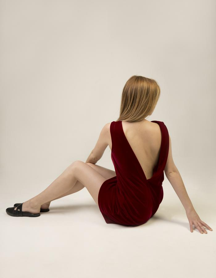 Velvet Dress(back)_burgundy