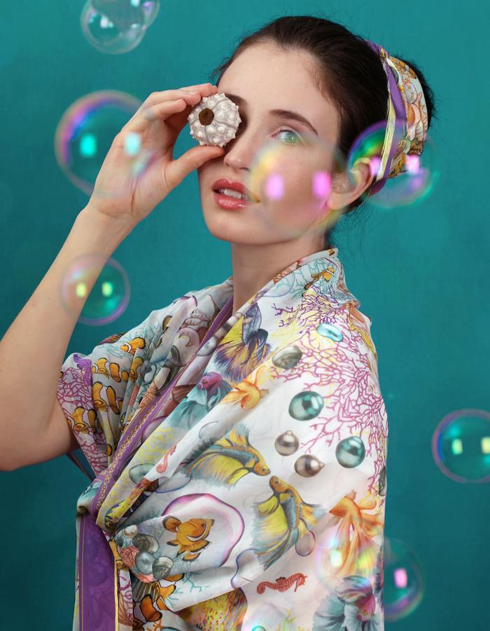 Le Voyage Magnifique by Fiona-K silkscarf bubbles